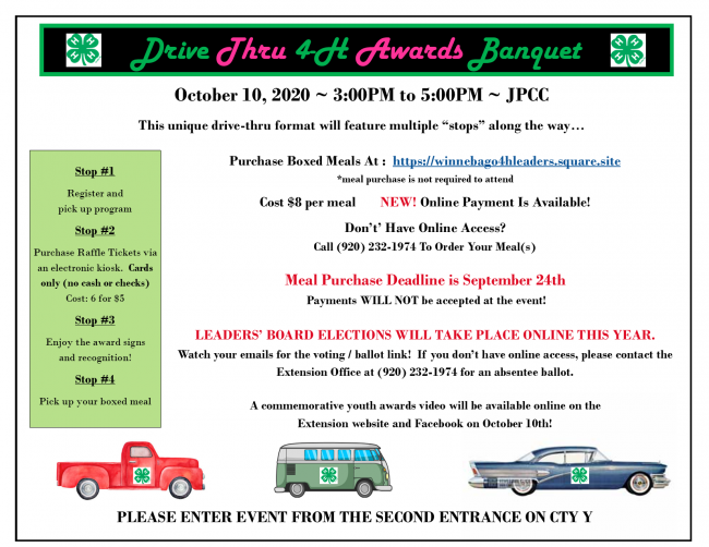 Drive Thru 4-H Awards Banquet